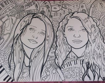 Hand drawn personalised colouring page drawn from photo