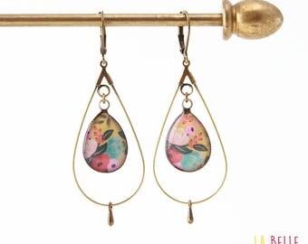 hoop earrings hot pink resin flower drops