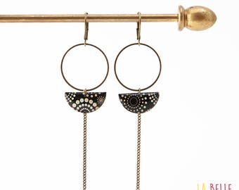 Earrings dangle half moon pattern circles and black and white polka dots