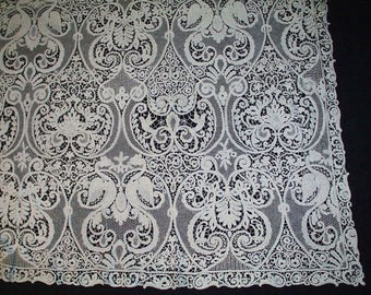 """1890's Tablecloth Italian CANTU BOBBIN LACE Figural With Swans Banquet Size 136"""" x 68"""""""