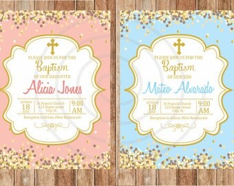 Personalized christening invitation, pink, blue, Beige, brightness.