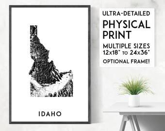 Idaho poster print, Physical Idaho map print, Idaho print, USA map, Idaho art, Idaho poster, Idaho wall art print, Idaho gift, Map of Idaho