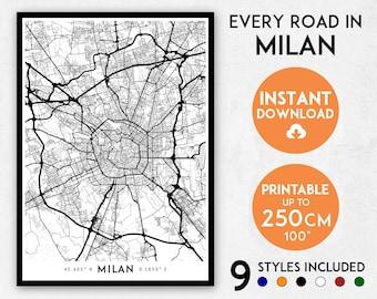 Milan map print, Milan print, Milan city map, Italy map, Milan poster, Milan wall art, Map of Milan, Milan art print, Milano map poster