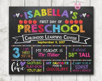 Printable First Day of School Sign First Day of Preschool Chalkboard Sign Printable Kindergarten Sign Back to School Photo Prop - 11 x 14