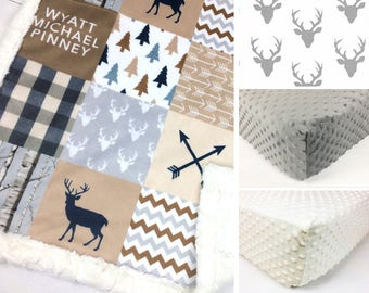 WOODLAND CRIB SET, baby minky bedding, deer bedding set, tan gray woodland crib set, antlers arrows baby bedding, baby shower gift