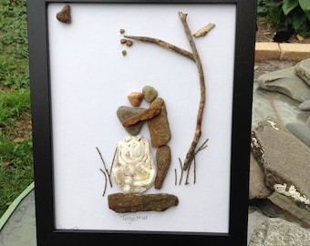 Pebble art, framed art, handmade art
