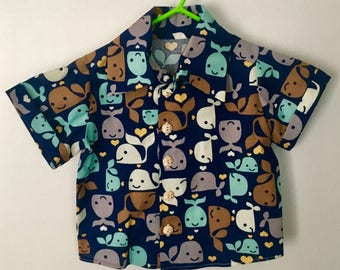 Boy's Colorful Whale Shirt and Matching Shorts Set