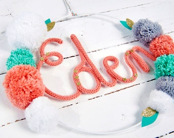 Wreath pom poms and knitting customize initials