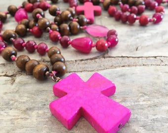 Long Rosary wood and Agate natural stone turquoise cross