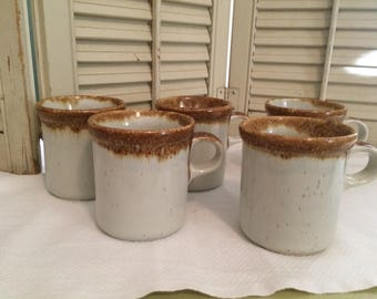 Vintage McCoy #1412  Ironstone Mugs Graystone/Tan Drip/Ivory/ Set of 5
