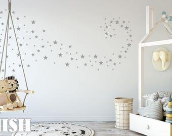 Wall Decal Stars Color light gray, Wall Stickers, Star Wall Stickers, Nursery Wall Decal, Home Decor, Kids Room