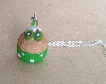 Muffin necklace, necklace with kiwi and cream green, miniature food
