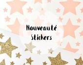 Mini stickers étoiles rose poudré et dorés paillette (100 pièces).