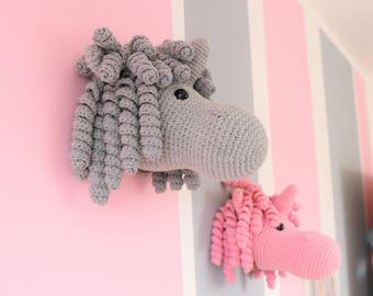 Grey wall hanging Unicorn taxidermy, Crochet mounted unicorn head faux taxidermy, Mounted unicorn head Plush, Unicorn Amigurumi Toy