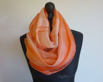 Shawl, scarf, scarf, pareo... 4 in 1. Very large salmon fluid and light silk scarf. Unique painted, signed, hand hemmed.