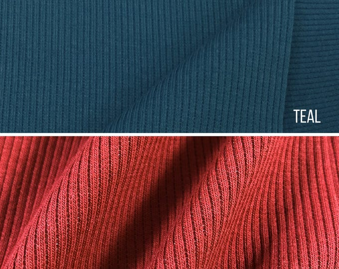 2x1 Rib Knit Fabric By the Yard (Wholesale Price Available By the Bolt) USA Made Premium Quality - 6129E - 1 Yard