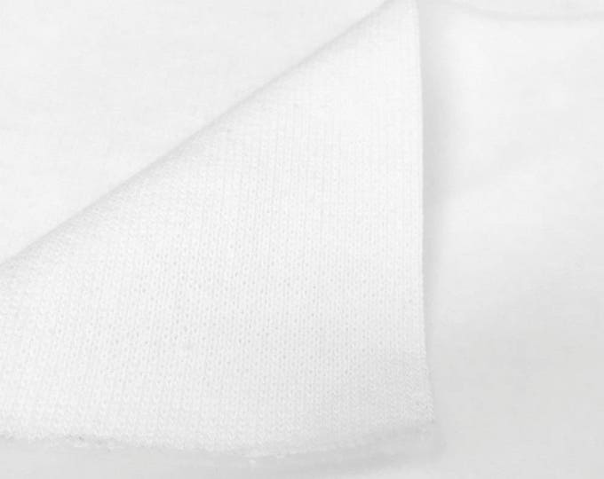 Cotton 3 End Fleece Fabric By the Yard (Wholesale Price Available By the Bolt) USA Made Premium Quality - 6061P1F White - 1 Yard