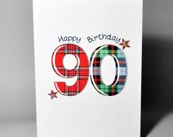Tartan Number 90 Birthday Card WWTN90