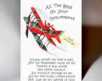 Scottish Retirement Card Aeroplane WWRE02