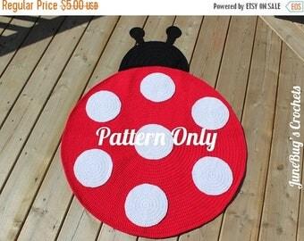 Sale CROCHET PATTERN Lady Bug Rug Nursery Rug Mat Carpet, Play Mat, Animal Rug, Lady Bug Nursery, Girls Room, Decor, Baby Shower Gift, LadyB