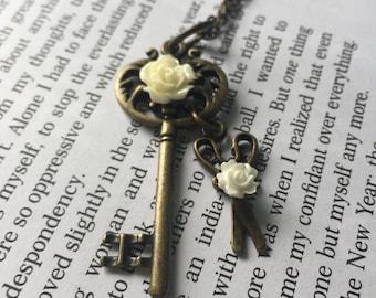 Vintage Bronze Scissor Charm Necklace