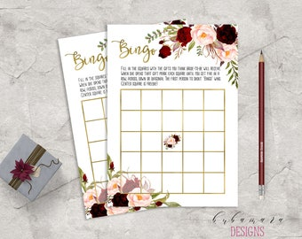 Marsala Printable Bingo Bridal Shower Game Floral Bridal Quiz Burgundy and Pink Peonies Game Flowers Wedding Trivia Bridal Quiz - BG018