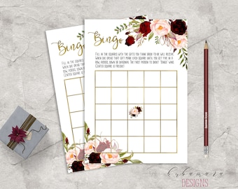 Marsala Printable Bingo Bridal Shower Game Floral Bridal Quiz Burgundy and Pink Peonies Game Flowers Wedding Trivia Bridal Quiz - BG018