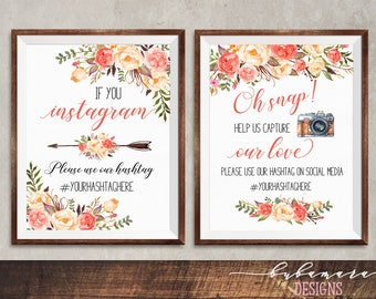 Printable Floral Coral Oh Snap Sign Digital Peach Pink Flowers Instagram Wedding Reception Boho Hashtag Wedding Poster 5x7 8x10 A4 - WS040