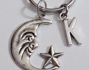 Great Design brass stamping half moon with star  personalized  initial keychain /u1