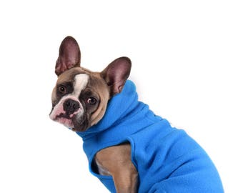 10.  Sold Out!    ELECTRIC BLUE Polartec 200 sweater (Limited color) soft, warm, french bulldog, boston terrier, pug, coat cozy