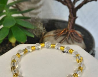 Bracelet rock crystal beads, 6 mm and Tibetan Silver Gold separations