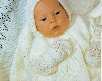 Knitting Pattern Sirdar 3421 Baby Snuggly 3 Ply Matinee Layette Set 14-18 in,Matinee coat, bonnet, mittens, bootees and shawl pattern, baby