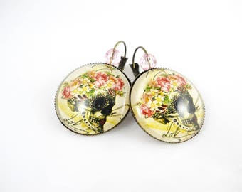 Rock - Skull earrings skull skull and flowers
