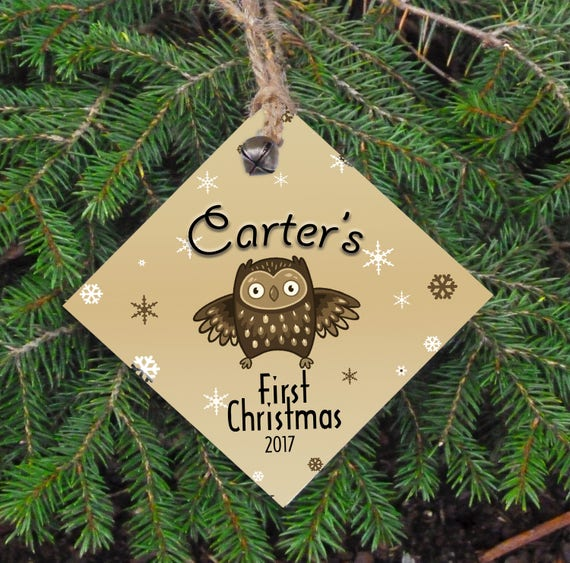 Personalized Christmas Ornament, Baby's First Christmas, Rustic Christmas, Name and Year, Christmas Tree Ornament, Owl, Wood Ornament