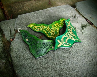 elven barrettes, elvish barrettes, leather elven clip, set of 3 barretes