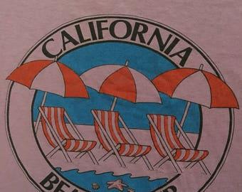 1980s CALIFORNIA BEACH CLUB Distressed Threadbare Vintage T Shirt // Size Small