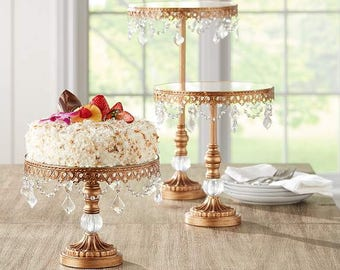 Antique Gold Beaded Wedding Cake Stands Cupcake Set of 3