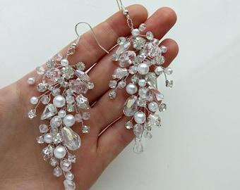 Wedding earrings Silver bridal errings White crystals earrings Wedding jewelry art deco vintage boho earrings beads2