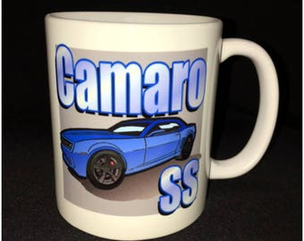 Custom Car Coffee Mug, Camaro SS Mug, LS7, Turbo, Brembo
