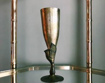 Vintage Silver-Plated Godinger Hummingbird Goblet / Bud Vase / Hollywood Regency Brass Champagne Flute
