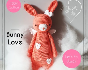 Cute rabbit hug with wings-handmade-crochet-Amigurumi