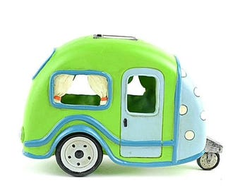 """20% Off Storewide Lime Green RV with Polka Dots, 8"""", Solar Powered, Miniature Decorations for Garden"""