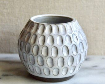 Ceramic bud vase, white hand-carved stoneware