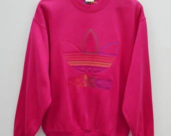 ADIDAS Sweatshirt Vintage 90's Adidas Big Logo Spell Out Multicolor Made In Japan Pullover Crewneck Sweater Sweatshirt Size M-L