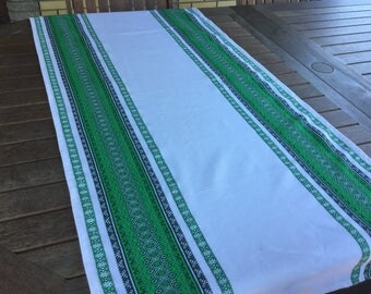 Ukrainian Green Table Towel / Runner Home Decor.