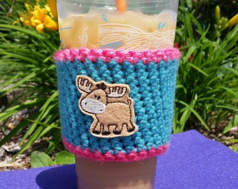 Moose coffee sleeve, cozy, coffee lover,  Dunkin' Donuts, Starbucks, moose feltie, iced coffee, hot coffee, personalize, trending,