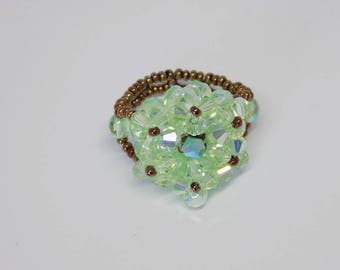 Ring light Green Bronze Flower Star Crystal