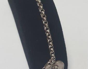 NC vintage sterling silver angel heart saint charm bracelet