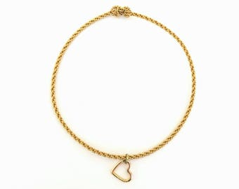 Braided Wire with Heart Charm Bangle