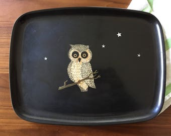 Vintage Couroc of Monterey Small Rectangular Owl Tray with Original Sticker — Wood and Brass Inlays